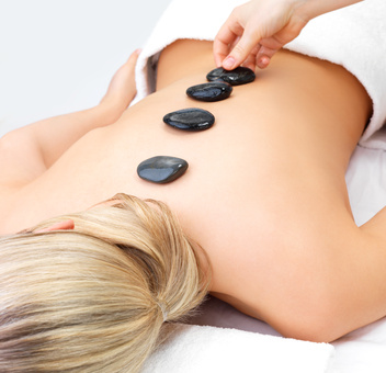 Hot stone massage in the day spa